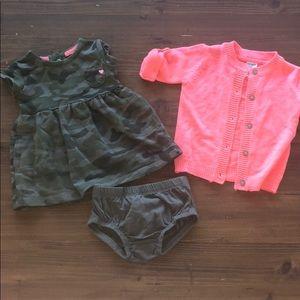 Carters Camo Dress & Cardigan Set 6M 6 Months